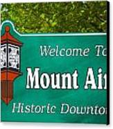 Mount Airy Sign Nc Canvas Print by Bob Pardue