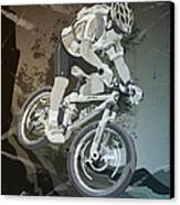 Mountainbike Sports Action Grunge Monochrome Canvas Print by Frank Ramspott