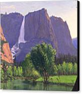 Mountains Waterfall Stream Western Mountain Landscape Oil Painting Canvas Print by Walt Curlee