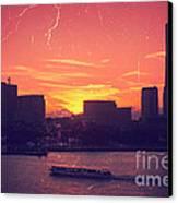 Mt Fuji At Sunset Over Yokohama Bay Canvas Print by Beverly Claire Kaiya