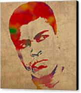 Muhammad Ali Watercolor Portrait On Worn Distressed Canvas Canvas Print by Design Turnpike