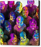 Multicoloured Happy Faces Canvas Print by Tim Gainey