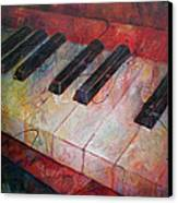 Music Is The Key - Painting Of A Keyboard Canvas Print by Susanne Clark