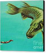 Muskie And The Lure Canvas Print by Jeanne Fischer