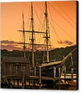 Mystic Seaport Sunset-joseph Conrad Tallship 1882 Canvas Print by Thomas Schoeller