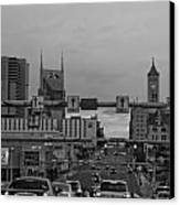 Nashville Skyline In Black And White Canvas Print by Dan Sproul