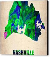 Nashville Watercolor Map Canvas Print by Naxart Studio