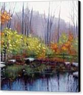 Nature Center Pond At Warner Park In Autumn Canvas Print by Janet King