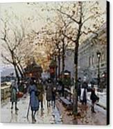 Near The Louvre Paris Canvas Print by Eugene Galien-Laloue