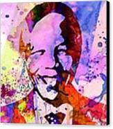 Nelson Mandela Watercolor Canvas Print by Naxart Studio