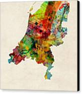 Netherlands Watercolor Map Canvas Print by Michael Tompsett