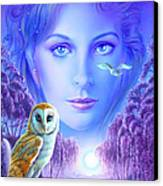 New Age Owl Girl Canvas Print by Andrew Farley