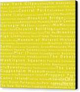 New York City In Words Yellow Canvas Print by Sabine Jacobs