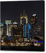 New York In Blue Canvas Print by Mike Reid