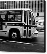 New York Mta City Bus Speeding Along 34th Street Usa Canvas Print by Joe Fox