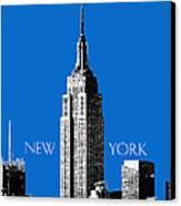 New York Skyline Empire State Building - Blue Canvas Print by DB Artist