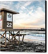 Newport Beach Pier And Lifeguard Tower 22 Photo Canvas Print by Paul Velgos