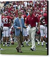 Nick Saban And The Tide Canvas Print by Mountain Dreams