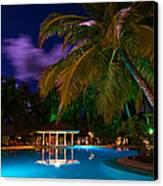 Night At Tropical Resort Canvas Print by Jenny Rainbow