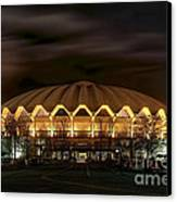 night WVU basketball Coliseum arena in Canvas Print by Dan Friend