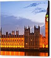 Nightly View - Houses Of Parliament Canvas Print by Melanie Viola