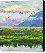 Nomad - Alaska Landscape With Joe Redington's Boat In Knik Alaska Canvas Print by Talya Johnson