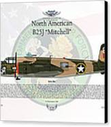 North American B-25j Mitchell Yellow Rose Canvas Print by Arthur Eggers