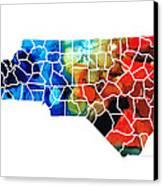 North Carolina - Colorful Wall Map By Sharon Cummings Canvas Print by Sharon Cummings