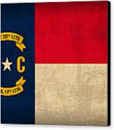 North Carolina State Flag Art On Worn Canvas Canvas Print by Design Turnpike