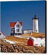 Nubble Lighthouse 3 Canvas Print by Joann Vitali