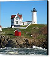 Nubble Lighthouse One Canvas Print by Barbara McDevitt