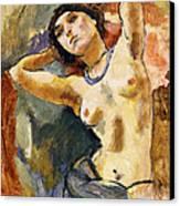 Nude Brunette With Blue Necklace Nu La Brune Au Collier Bleu Canvas Print by Jules Pascin