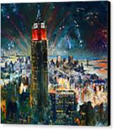 Nyc In Fourth Of July Independence Day Canvas Print by Ylli Haruni