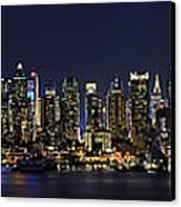 Nyc Skyline Full Moon Panorama Canvas Print by Susan Candelario