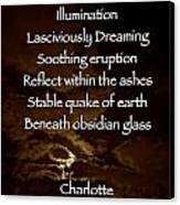 Obsidian Glass Canvas Print by Charlotte  DiSipio-Grillo