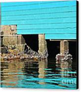 Old Aqua Boat Shed With Aqua Reflections Canvas Print by Kaye Menner