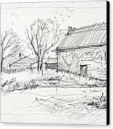 Old Barn Sketch Canvas Print by Peut Etre