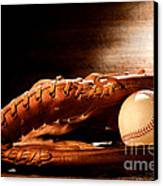 Old Baseball Glove Canvas Print by Olivier Le Queinec