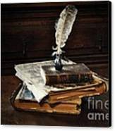 Old Books And A Quill Canvas Print by Mary Machare