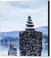 Old Concrete Jetty Posts Governors Bay Banks Peninsula New Zealand Canvas Print by Colin and Linda McKie