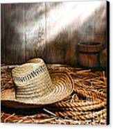 Old Farmer Hat And Rope Canvas Print by Olivier Le Queinec