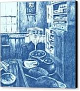 Old Fashioned Kitchen In Blue Canvas Print by Kendall Kessler