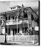 Old Historic Wooden Two Storey Building With White Picket Fence Key West Florida Usa Canvas Print by Joe Fox