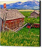 Old Homestead Near Townsend Montana Canvas Print by Michael Pickett