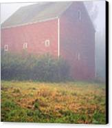 Old Red Barn In Fog Canvas Print by Edward Fielding