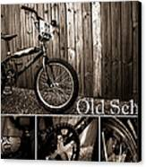 Old School Bmx - Pk Collage Bw Canvas Print by Jamian Stayt