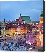 Old Town In Warsaw At Evening Canvas Print by Artur Bogacki