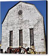 Old Tractor In Front Of Hay Barn Canvas Print by Bill Cannon
