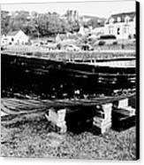 Old Wooden Fishing Boat In Portpatrick Harbour Scotland Uk Canvas Print by Joe Fox