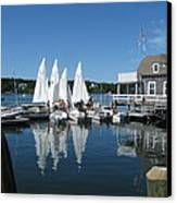 On A Beautiful Maine Summer Morning On The Island Of North Havenjunior Sailing Participants Rig Sailboats Canvas Print by Downeast Yacht Shots- Ted Fisher Photography